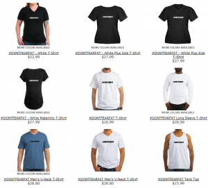 Selection of T-Shirts, Hats and other accessories. Help spread the word to stop fearing fat!